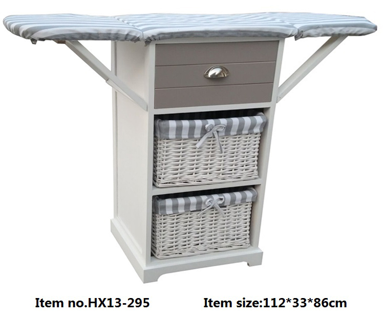 wooden folding ironing board with storage drawers