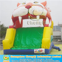 small funny inflatable tiger slide for kids