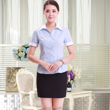 OEM service traditional type office lady red tailored blouse shirts with skirt