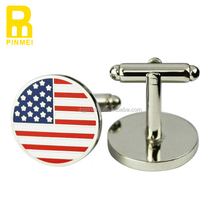 Wholesale soft enamel USA flag metal 925 sliver cheap cufflinks for men manufacturer