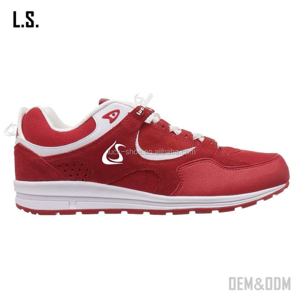 wholesale customized red woman sport shoe casual sport jogging shoe suede sport running shoe