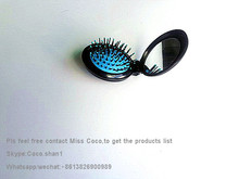 Good price of Fashionable new design round foldable hair brush mirror with CE certificate