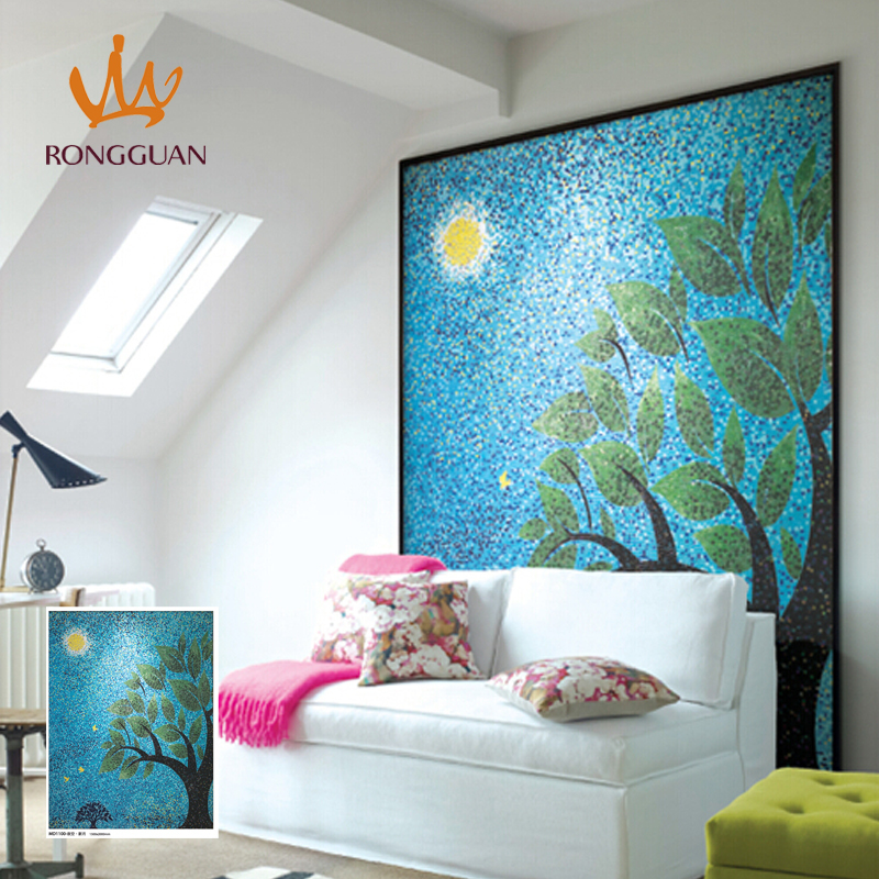 italy design high class mural glass mosai painting for wall decoration