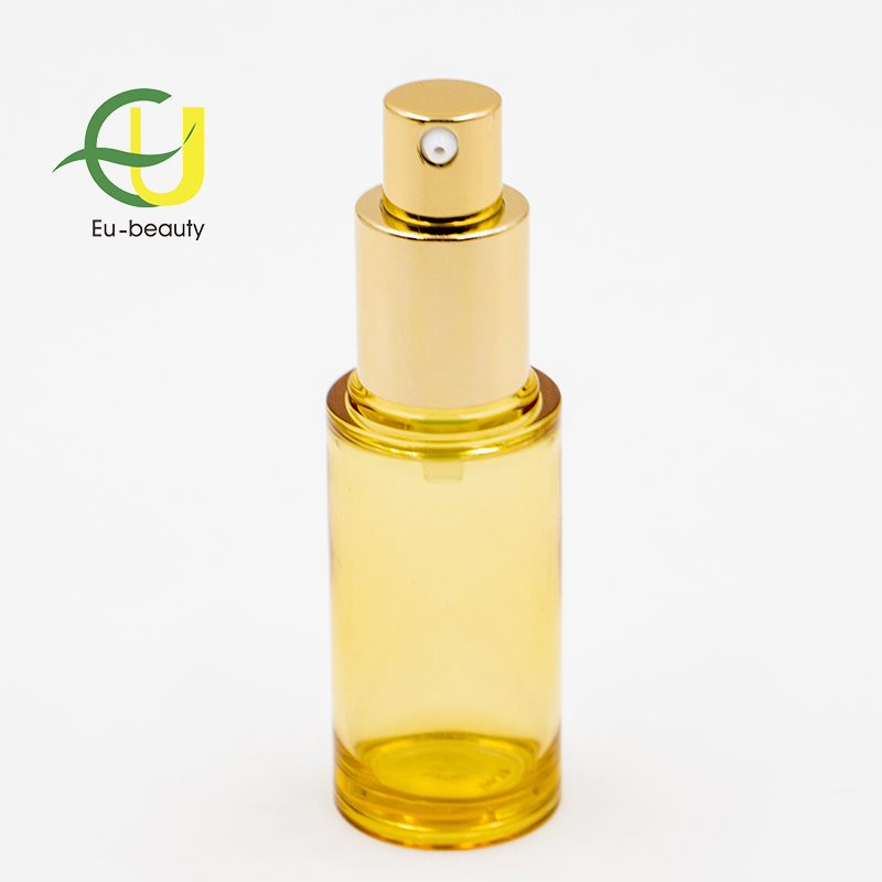 cosmetic out-spring aluminum cream pump with plastic bottle