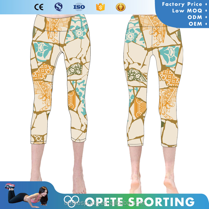 OEM/ODM high waistband competitive price fashion fitness womens mesh yoga leggings custom cross stripes printing yoga pants