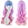 Colorful human hair full lace wig Costume Party Cosplay Synthetic Wig
