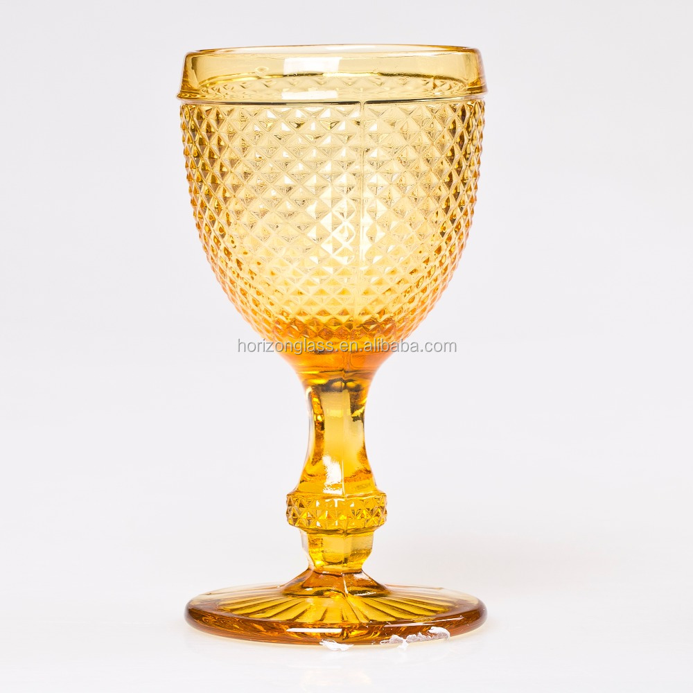 Instock colored stem wine glass/wine goblets/cheap glass goblet