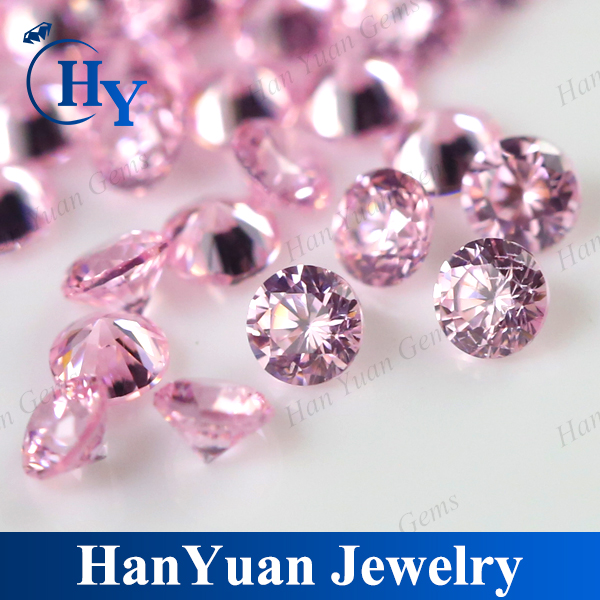 Synthetic pink round 2mm cz loose stone large in stock