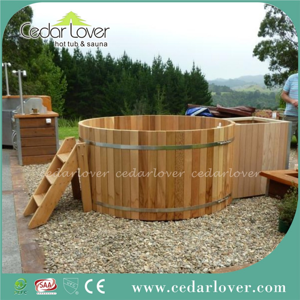 Cedar barrel outdoor spa hot tub wood fired tub buy for Outdoor bathtub wood fired