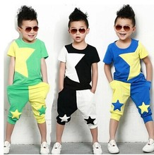 Boys fashion personality five-pointed star color matching <strong>set</strong> <strong>Children's</strong> summer cotton short-sleeved pants two-piece
