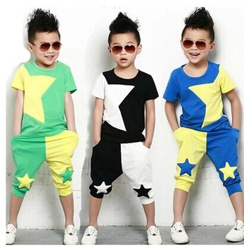 Boys fashion personality five-pointed star color matching set Children's summer cotton short-sleeved pants two-piece