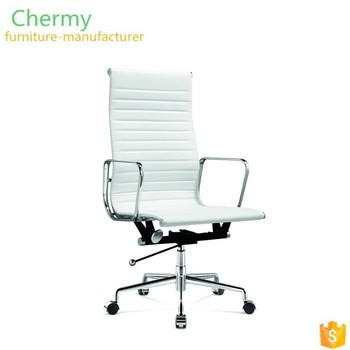 Italian office furniture white leather aluminum swivel chairs boss lift chairs office