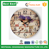 Lavender Painted wood wall clock hanging Vintage Electronics Digital Clock