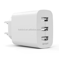 24W / 4.8A 3 Port USB Travel Mobile Wall Charger AC Power Adapter