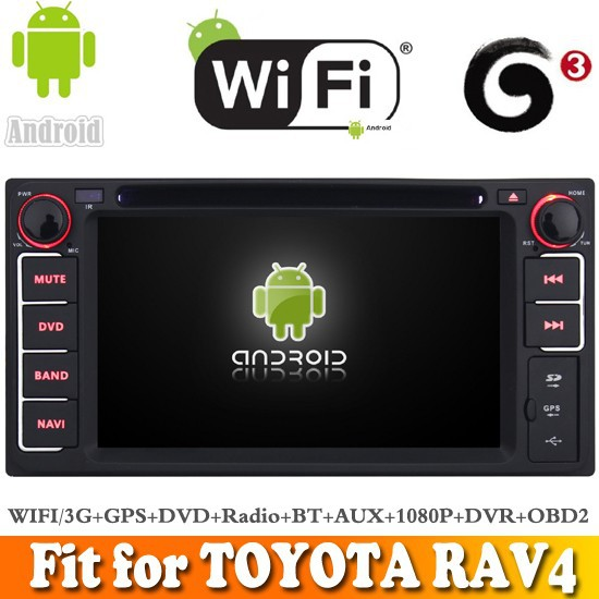 Pure android 4.4 system car dvd gps navigation fit for TOYOTA RAV4 2001 - 2008 WITH CHIPSET WIFI 3G INTERNET DVR OBD2 SUPPORT
