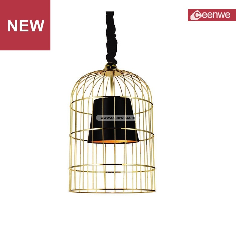 Factory price modern LED black pearl iron vintage cage channel chandelier
