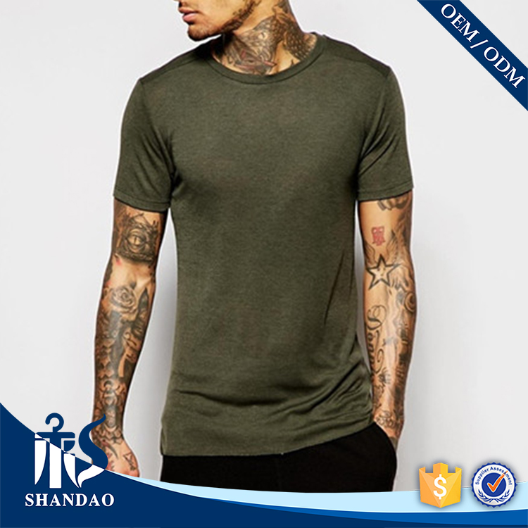 China Shandao Supplier Musle Fit Plain Man 95% Cotton 5% Spandex 140g O-Neck Short Sleeve Long Tail Rounded Hem T Shirt