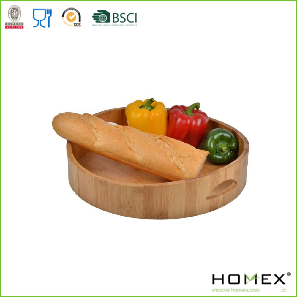 Round Curve Bamboo Cocktail Serving Tray/Wine Tray/Homex_FSC/BSCI Factory