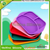 Dishes & Plates Dinnerware Type and LFGB,FDA Certification 3 Divided type silicon baby meal plate