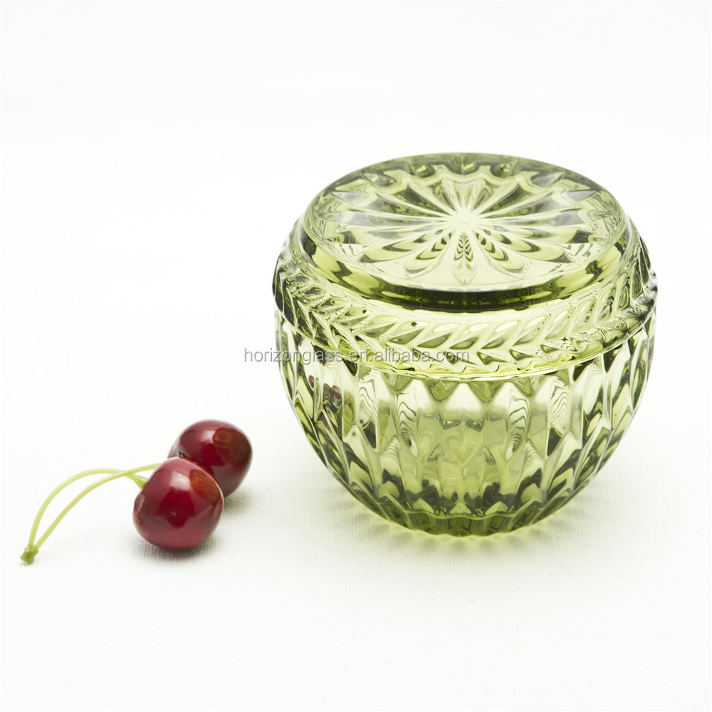 Customize Small Colored Cheap Glass Candy Jar With Lid