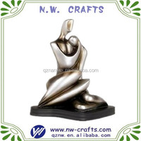 Silver abstract nude wedding couple figurine