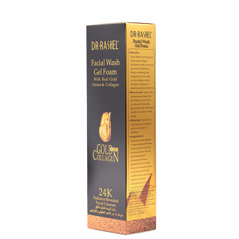 DR.RASHEL 80ml 24 K Gold Atoms Collagen whitening facial Wash Gel Foam Cleanser