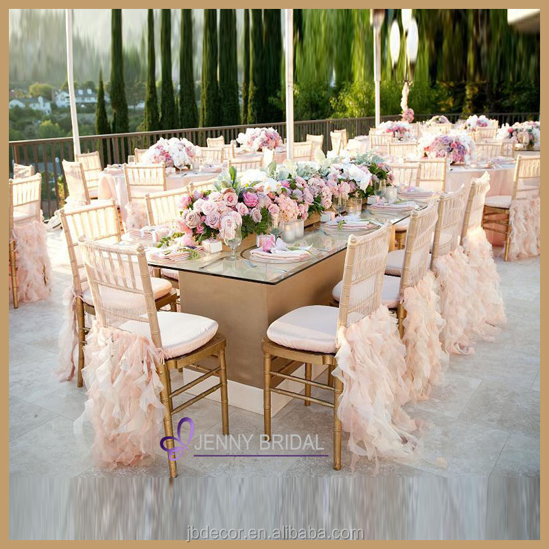Fancy blush pink curly willow ruffled organza banquet wedding chair sash chair covers
