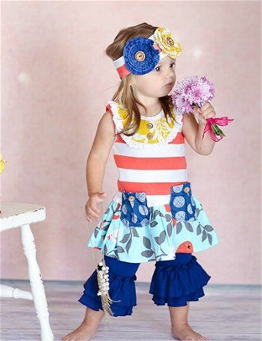 sweet stripe printing top young boutique girl dress