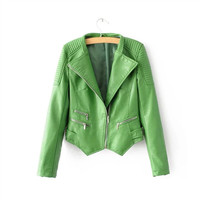 ZH1184A High quality fashion pu leather ladies short jacket