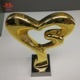 Gold plating heart shape plastic trophy with black glass base