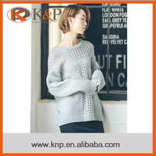 2016 Plain Natural Long sleeve Grey Wool Round neck Women Sweater
