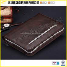 A4 leather portfolio with zipper closure with handle and calculator portfolio/briefcase with ring binder