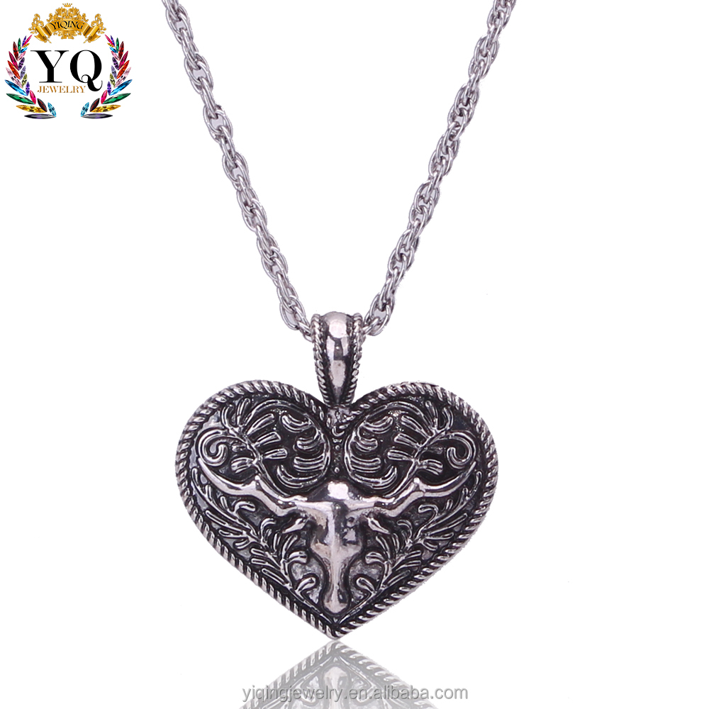 PYQ-00132 simple custom heart shaped antique silver cow head pattern pendant necklace