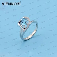 Sterling Silver Blue Topaz Engagement Ring For Women,925 Fine Jewelry