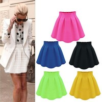 2015 New Women Skirt Europe And America Fashion Casual Feminine High Street Candy Color Skirts Chiffon Pleated Short Skirt