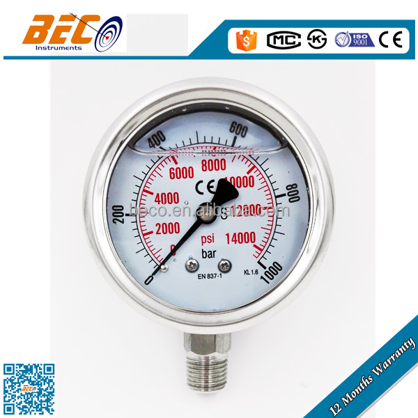 (YBF-60A) 60mm super 1000bar all stainless steel bottom thread single tube type high pressure digital manometer
