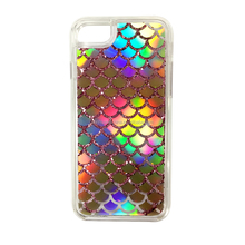 Mobile phone accessories factory in china Fish scales colorful phone case with shiny Sequins wholesale