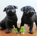 Black resin cute couple french bulldog statue