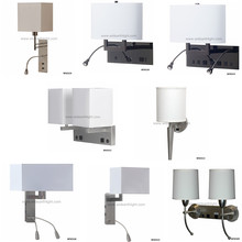 UL Bedroom Bedside Wall Lamp For Hotel Mounted Light With Electrical Power Outlet USB