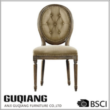 Tufted Round Back Hand Hammered Brass Nails Hand Covered Armless Louis Dining Room Chair
