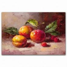 Hand painted modern abastract canvas acrylic peach cherry painting fruits