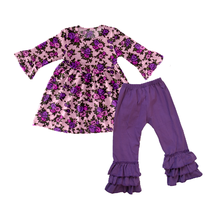 Factory direct wholesale baby girls clothes tops and leggings two piece ruffle clothing sets fancy floral print outfits