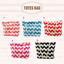 wholesale fashion chevron printed canvas tote bags for women lady ladies moms