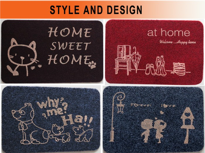 machine washable 3d logo velour doormat with tpr backed for home