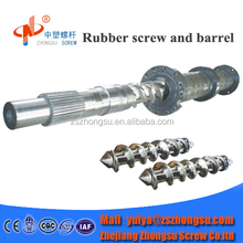 Hot feed/cool feed rubber screw barrel for extruder