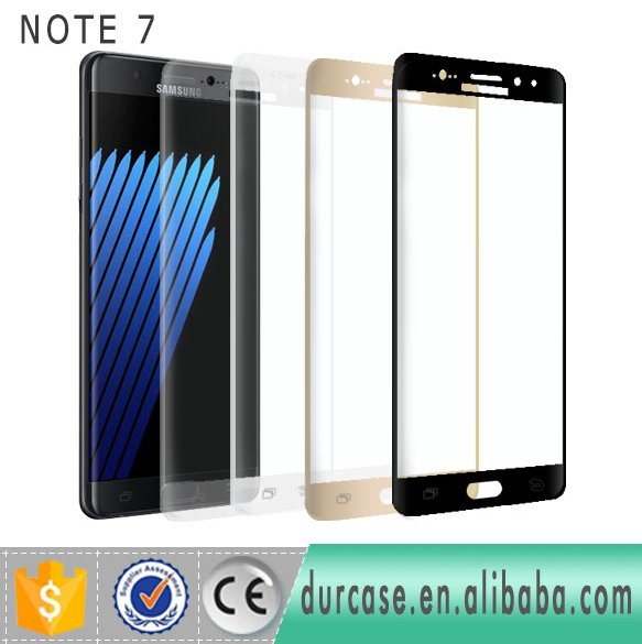 2016 Hot Selling For Samsung Galaxy Note7 tempered glass protector / mobile phone full glass screen protector