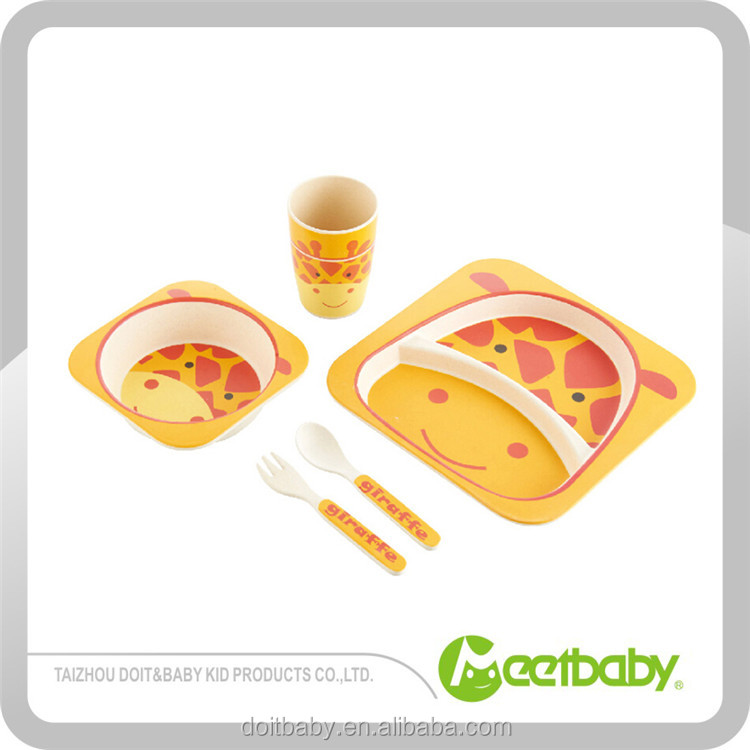Baby boutique baby stuff dinner set baby spoon ,bamboo dinner set for kid