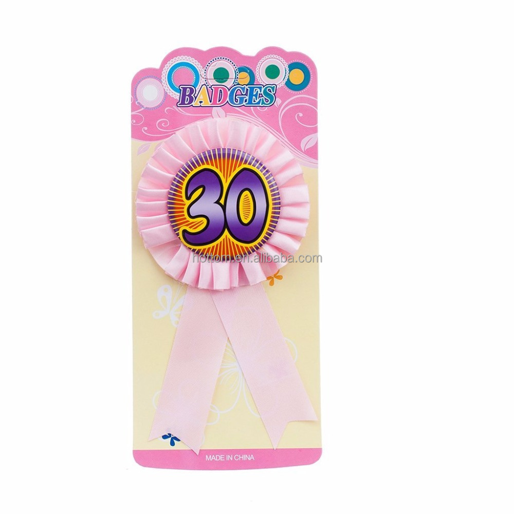 """30"" Happy Birthday Party Award Ribbon Rosette Badge Brooch Favor Pink Gift"