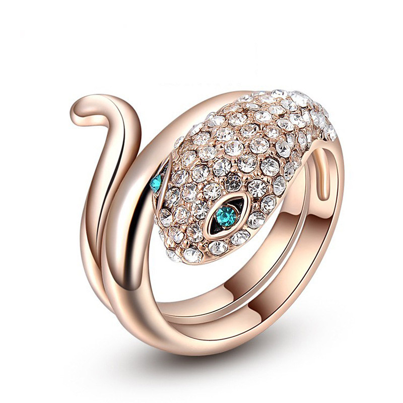 KN-26 Korea Style Bule Eye Snake Design Ring With Crystal