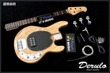 Diy High Quality Ash Wood Unfinished Electric Bass Guitar Kits 4 Strings